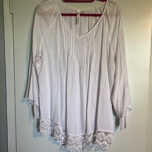White Peasant top with crochet trim